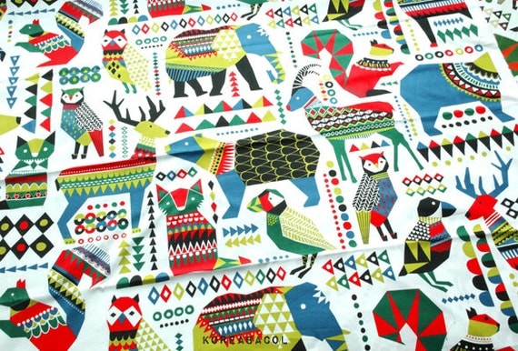 """Scandinavian Fabric, Ancient Animal Fabric, Unique Fabric - 43"""" x 35"""", Cotton 20s woven, Unique Pattern, Animal Pattern, Color Red -[#K0001]"""
