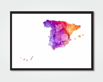 SPAIN Watercolor Print - 8.5x11 - SPAIN Map Digital Print