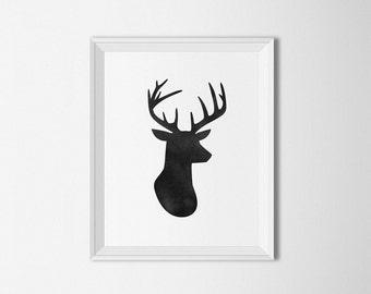 Deer head printable, Deer head poster, watercolor print, antlers art print, deer antlers, deer head silhouette, cabin art, black and white