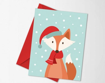Fox Christmas card, Fox printable, diy card, Holiday card, greeting card printable, christmas art, christmas animal, diy holiday decor