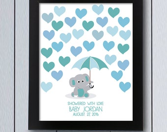Delightful Elephant Baby Shower Guestbook / Printable Pdf / Umbrella Signature  Birthday Party Page Guest Book Idea