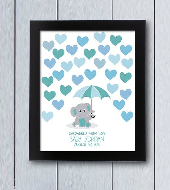 Baby Book Ideas: Elephant Baby Shower Guestbook / Printable Pdf / Umbrella