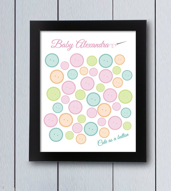 Cute As A Button Sign In Board Printable Pdf Baby Shower Guest