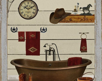 primitive southwest western bathroom bath bathtub cowboy cowgirl cowboy boots wall art sign