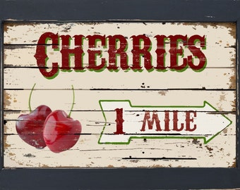 Vintage Style Country Diner Kitchen Primitive Fruit Stand Cherry Cherries Art
