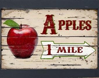 Vintage Style Diner Kitchen Primitive Home Decor Fruit Stand Apple Apples Wall art