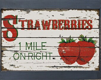 Vintage Style Country Diner Kitchen Primitive Fruit Stand Strawberry Strawberries Wall Decor
