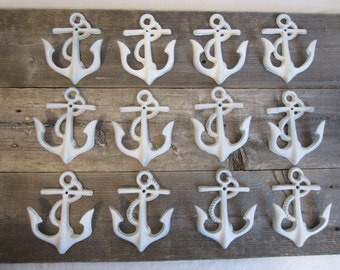 12 Cast Iron Anchor Wall Hooks White Patio Hooks Decor Hat Hook Towel Hook Free Shipping