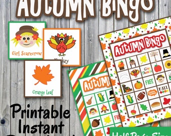 Autumn Bingo Printable PDF - Thanksgiving Bingo - 30 different Cards - Half Page Size - Memory Game - Party Game Printable -INSTANT DOWNLOAD