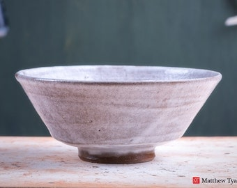 Stoneware Pottery Bowl, Handmade Ceramic Bowl, with Frosty Fields Glaze - Thrown on the Potter's Wheel