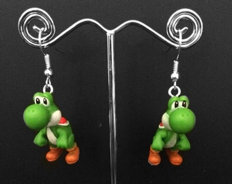 Super Mario Bros Yoshi Earrings - Yoshi Earrings - Mario Earrings - Handmade
