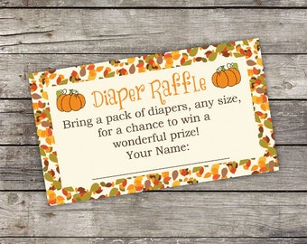 Pumpkin Diaper Raffle Card - Fall Diaper Raffle Card - Baby Shower Games - Fall Baby Shower 191