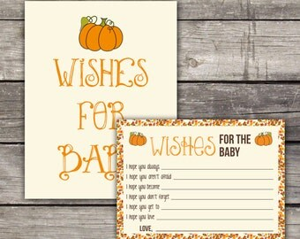 Pumpkin Wishes for Baby  - Baby Wishes - Pumpkin Baby Shower Game 191
