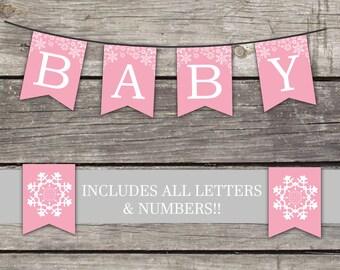 Winter Baby Shower Flag Bunting Banner - Winter Baby Shower Banner - Baby Shower Games - Snowflake 214