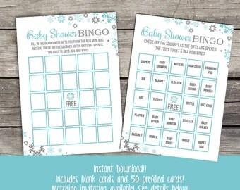 Winter Baby Shower Bingo Game - Snowflake Bingo - Baby Shower Games - Blue and Grey Bingo Game 215