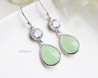 Mint Green and Clear stone Earrings in silver, Mint earrings, Mint stone, Teardrop earrings, Bridesmaid earrings, Wedding earrings