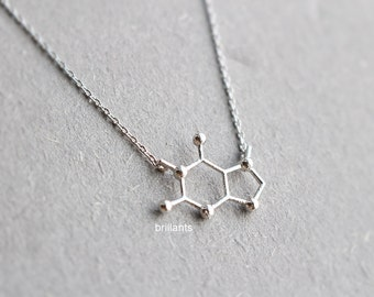 Caffeine Molecule Structure Necklace, Geometric necklace, coffee, Layering, Bridesmaid jewelry, Everyday necklace, Wedding necklace