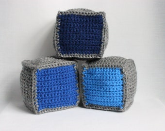 Clearance! - Sale! - 3 Blue & Gray Soft Baby Blocks