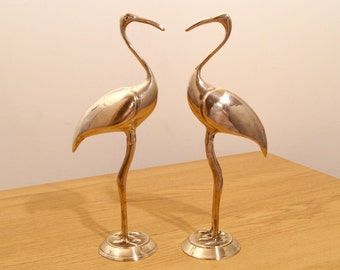 Vintage brass sculpture set of two cranes