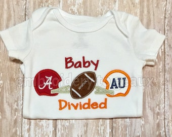 Baby Divided Alabama and Auburn inspired  Child's T-Shirt or Baby Bodysuit-house divided shirt-football shirt