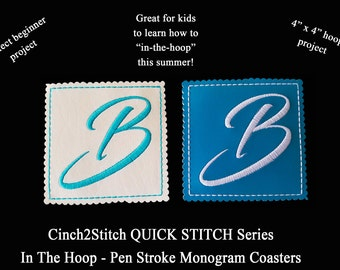 "Quick Stitch Pen Stroke Monogram Coasters - In The Hoop - Machine Embroidery Design Download (4"" x 4"" Hoop), Vinyl or recycled denim"