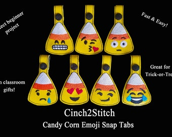 """Halloween Candy Corn Emoji Snap Tab / Key Fob - Trick or Treat Gifts - In The Hoop - Machine Embroidery Design Download (5""""x7"""" Hoop)"""