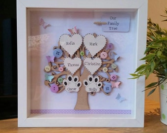 Beautiful Personalised Family Tree Picture Frame. Perfect Gift For All Occasions