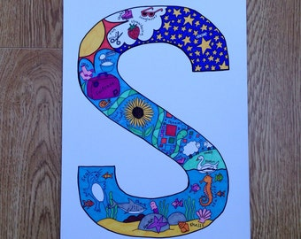 Alphabet Letter 'S' Colour Print