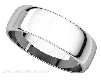 6mm Half Round (D Shape) Palladium 950 Wedding Band
