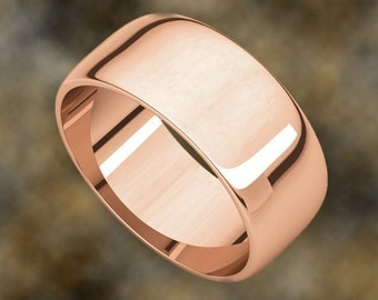 8mm Weddding Band, Half Round, D Shape, 18K Gold (available in Yellow Gold, Rose Gold and White Gold options)