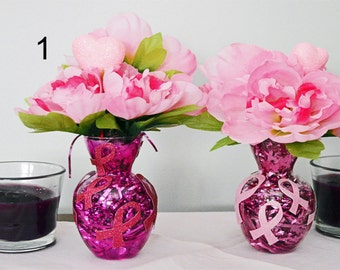 Breast Cancer Gift Floral Arrangement Table Decoration Centerpiece, Hope , Ready to Ship!