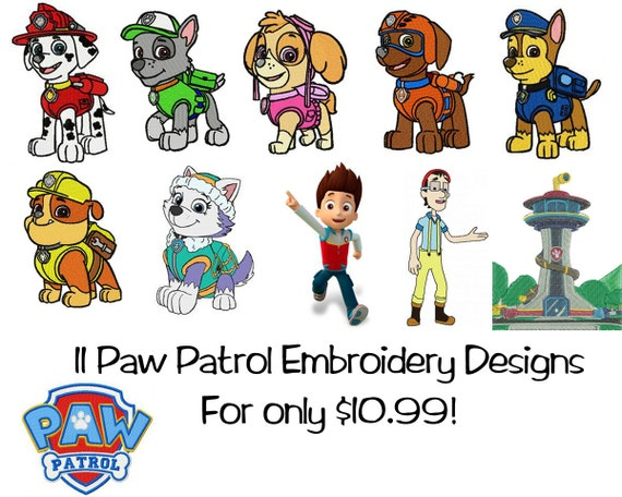 11 PES Paw Patrol Embroidery Designs By TessasTrendyTreasure