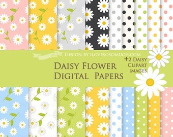 Daisy Flower  / Pink, Yellow, Green, Blue, Black, White Daisy Digital Paper Pack - Instant Download - DP081