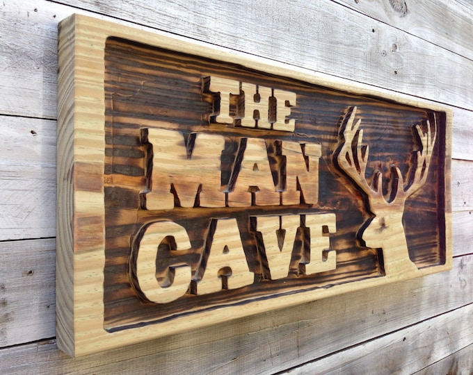 Man Cave Wall Decor, Carved Man Cave with Deer Head Wooden Sign, Pool Bar Decor, Man's gift