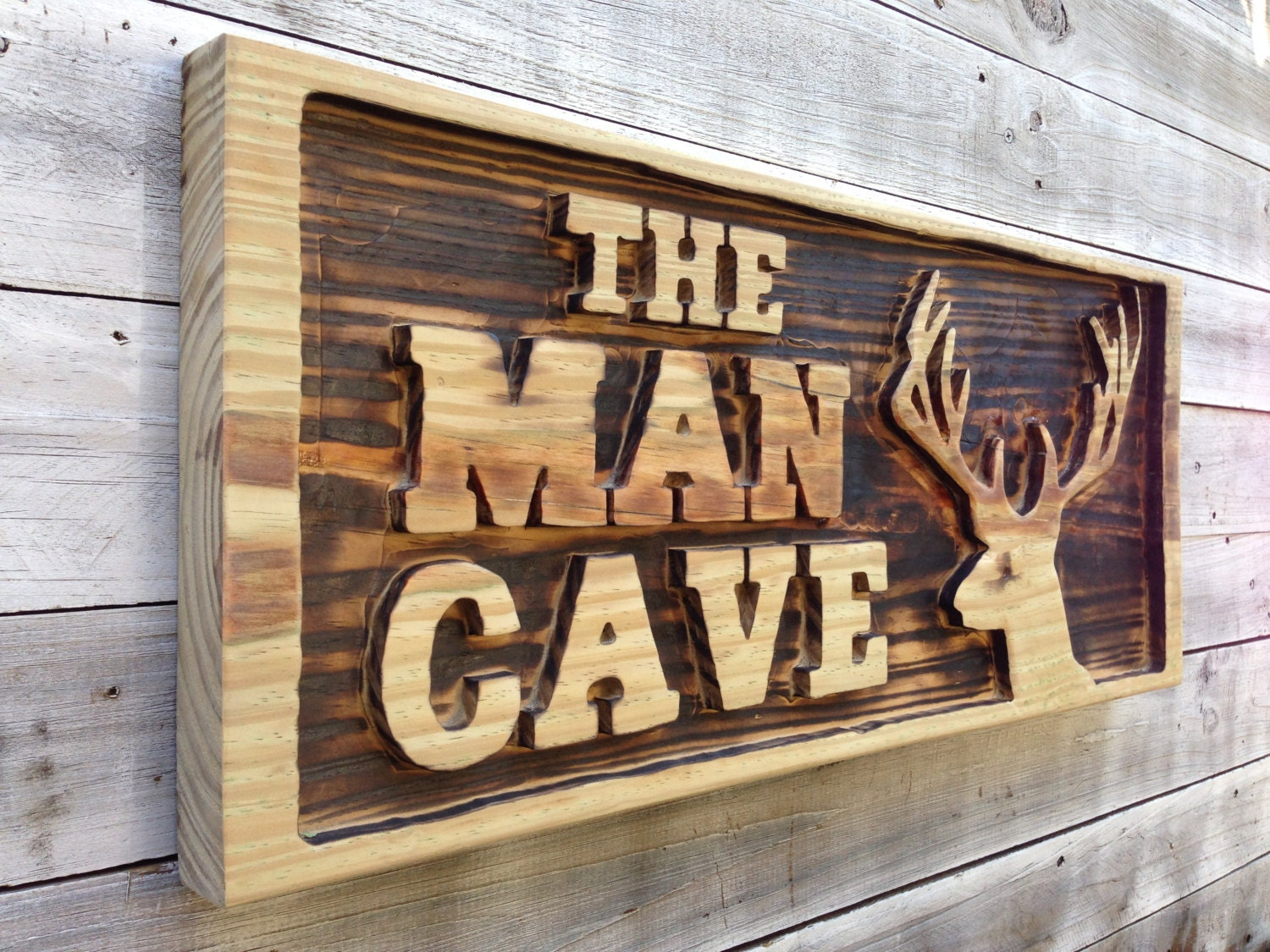Large Man Cave Signs : Man cave wall decor carved with deer head wooden