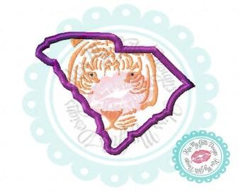 South Carolina Tiger Face Machine Embroidery Applique Design