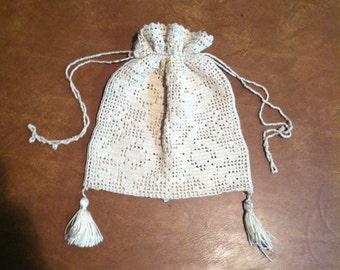 Antique White Filet Crochet Bridal Drawstring Bag Purse