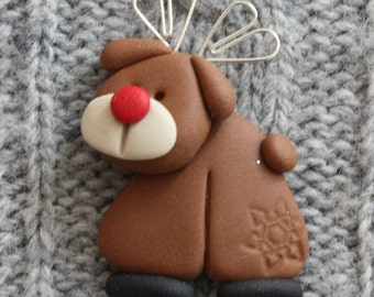 Rudolf Christmas card making topper, polymer clay, fimo BUY any 5 GET 1 FREE