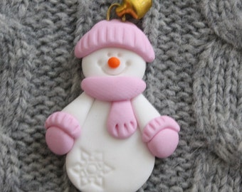 Pink snowman card topper/brooch/magnet , polymer clay/Fimo BUY any 5 GET 1 FREE