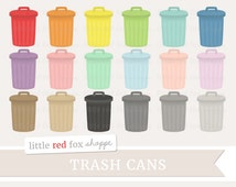 Trash Can Clipart, Garbage Can Clip Art Chore Reminder House Icon Metal Household Object Cute Digital Graphic Design Small Commercial Use
