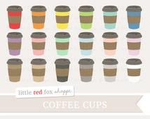 Coffee Clipart, Paper Cup Clip Art Latte Cappuccino Drink Mug Beverage Espresso Bean Cute Digital Graphic Design Small Commercial Use
