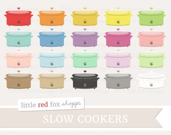 Slow Cooker Clipart, Crock Pot Clip Art Crockpot Cook Cooking Dinner Chef Retro Food Icon Cute Digital Graphic Design Small Commercial Use