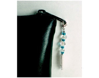 Teal Bead Zipper Charm With Chain Tassel, Crystal Bead Swag, Purse Embellishment, Clutch Adornment, Make-up Bag Bling, Crystal Zipper Pull
