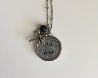 Fly Free - Bezel Necklace with Charms