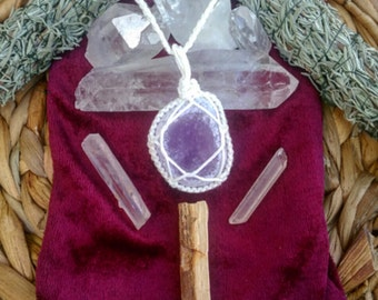 Amethyst bamboo wrapped necklace