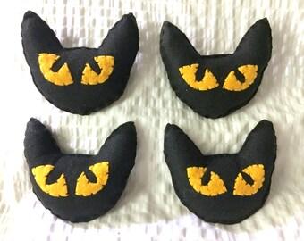 """Cat Toy, Felt Black Catnip Toy, Black Cat Catnip Toy, Halloween Black Cat Catnip Toys, 4"""" Halloween Black Cat Toy, Cat Catnip Toy, Cat Toys"""