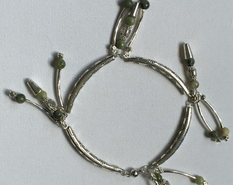 Green gem and Tibetan silver anklet