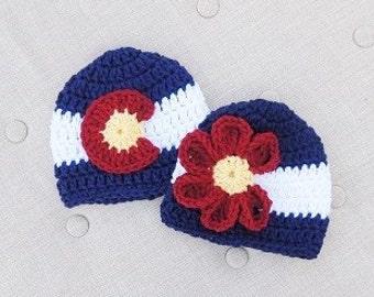 Colorado Flag Beanie, Colorado Flag Hat, Colorado Hat, Girl Colorado Hat, Boy Colorado Hat