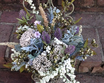 Beautiful door or wall floral arrangement in a scrolled soft sage green metal planter!!!