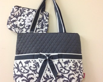 Adorable 3pc Diaper Bag Set In Gray Damask !!! Monogram It!!